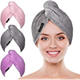 POPCHOSE Microfiber Hair Towel Wrap 3 Pack Ultra Absorbent, Fast Drying Hair Turban Soft, Anti Frizz Hair Wrap Towels for Wom