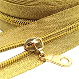 YaHoGa #5 Gold Metallic Nylon Coil Zippers by The Yard Bulk 10 Yards with 25pcs Sliders for DIY Sewing Tailor Craft Bag (Gold