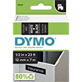 DYMO High-Performance Permanent Self-Adhesive D1 Polyester Tape for Label Makers, 1/2-inch, White Print on Black, 23-foot Car