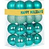 "GameXcel Christmas Balls Ornaments for Xmas Tree - Shatterproof Christmas Tree Decorations Large Hanging Ball Teal 2.5"" x 24"