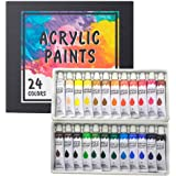 Acrylic Paint Set 24 Colors/Tubes(12ml, 0.4 oz) Non Toxic Non Fading,Rich Pigments for Painters, Adults & Kids, Ideal for Can