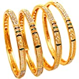 Bangles Indian Handmade Meena Work Gold Plated Ad Size, No Color, Size No Size