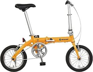 RENAULT(ルノー) LIGHT8 AL-FDB140 オレンジ 軽量アルミフレーム 14インチ コンパクト折りたたみ自転車 本体重量8.3kg 防錆チェーン/ステンレススポーク/スリックタイヤ/ポリッシュリム 【前後ハブ/ギアクランク:アルミ仕様】 高さ調整機能付きハンドルステム搭載 11263-1099
