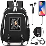 Billie Eilish Backpack, Billie EILISH Student School Bag Laptop Backpacks with USB Charging Port and Headphone Ports