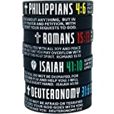 8 Pack Christian Bible Verses Silicone Bracelets | Religious Gifts Rubber Wristbands for Men, Women, Teenagers | Peace Streng