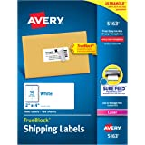 Avery Mailing Labels with TrueBlock Technology for Laser Printers, 2 x 4 Inch, 10-Up, White, Box of 1000 (5163)