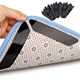 H HOME-MART 12 Pieces Anti-Slip Rug Grippers, Double Sided Washable Removable Anti Curling Corner Carpet Gripper, Non Slip Re