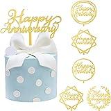 Yoaokiy Happy Anniversary Cake Topper Decorations, 6Pcs Acrylic Wedding Anniversary Cake Topper Party Supplies, Gold Glitter