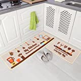 "Carvapet 2 Piece Non-Slip Kitchen Mat Rubber Backing Doormat Runner Rug Set, Kitchenware and Food Design (Beige 15""X47""+15""X2"