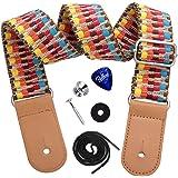 Dulphee Ukulele Strap with 1 Pick & 1 Button, Hawaiian Rainbow Woven Ukulele Shoulder Strap with Leather Ends for All Ukulele