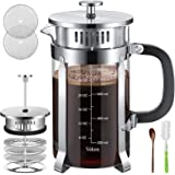 Veken French Press Coffer Tea Maker (34 oz), 304 Stainless Steel Coffee Press with 4 Level Filtration System, Thickened Heat