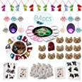 Meow Cat Party Favors Supplies-Cat Necklaces,Bracelets,Keychains,Hair Clips,Tattoos,Brooch,Gift Bags Kids Girls Goodie Bags B