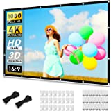 Projector Screen 120 inch, Taotique 4K Movie Projector Screen 16:9 HD Foldable and Portable Anti-Crease Indoor Outdoor Projec