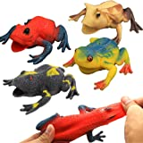 Frog Toys,4.5 Inch Assorted Rubber Frog Sets(6 Pack),Food Grade Material TPR Super Stretches,with Gift Bag and Learning Study