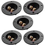 PIXNOR 5pcs DIY Home Car Stereo 2-Way Speaker Box Terminal Binding Post Round Spring Cup Connectors Subwoofer Plugs (Black)