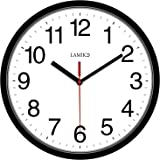 LAMIKO 10 Inch Non-Ticking Silent Wall Clocks Classic Quartz Decro Battery Operated Clock Easy to Read for Home Kitchen Bedro