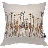 Moslion Throw Pillow Cover Giraffes 18x18 Inch Animal Cute Wild Cartoon Africa Safari Tall Group Crowded Spot Zoo Square Pill