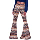 GUOLEZEEV Women High Waist Stretchy Bell Bottom Leggings Retro Floral Flare Palazzo Pant Trousers