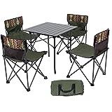 アウトドア 折りたたみ テーブル チェア セット 耐荷重約80kg 組立簡単 軽量 持ち運び便利 収納袋 お花見レジャーテーブルチェアセット (1個テーブル&椅子4個セット)