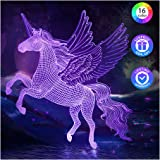 PASTACO Unicorn Night Lights for Girls, 3D Unicorns Gifts for Girls Kids, 16 Colors Changing & Dimmable LED Lamp for Girls Be