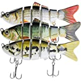 Lifelike Fishing Lures for Bass, Trout, Walleye, Predator Fish - Realistic Multi Jointed Fish Popper Swimbaits - Spinnerbaits