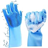 SparkJoy Reusable Silicone Dishwashing Gloves, Deep Cleaning Gloves for Dishes Build in Brush Sponge Scrubber, Magic Silicone