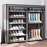 Baodan Shoe Rack Storage Organizer, Portable Boots Rack with Non-woven Fabric Cover and Zipper, Double Row Shoe Rack Shelf Ca