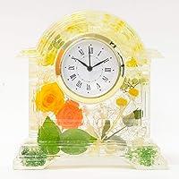 Lulu's ルルズ ハーバリウム 花時計 Flower clock イエローオレンジ プリザーブドフラワー ドライフラ…