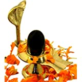 IndianStore4All Shaligram Shiva Ling Lingam Shivling Naaga Brass Stand 4.7 Inches Approx