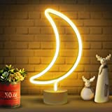 Lumoonosity Moon Neon Sign - Moon Neon Light for Bedroom, Desk, Table Decorations - Battery/USB Powered Moon Shaped Light - S