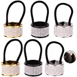 6 Pcs 3 Color Alloy Rhinestone Hair Ponytail Cuff Band Wrap Holder Elastic Hair Ties for Lady Women Girls - Gold&Silver&Black