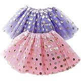 OLYPHAN Polka Dot Tutu Skirt for Toddler Girls/Tutu Set Pink Tulle Skirts & Purple Tutus Sets- Girl Dress Up Birthday Party,