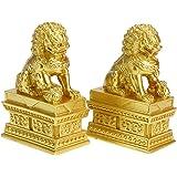 MDLUU Feng Shui Lion Statues, Pair of Guardian Lions, Fu Foo Dogs for Cash Register, Office Desk, House Warming, Store Openin