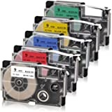 Absonic Compatible Label Tape Replacement for XR-9WE XR-9RD XR-9BU XR-9YW XR-9GN Tape Cassette for Casio KL-60 KL-100 KL-120