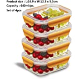 PREMIUM QUALITY(4 PACK SET) 640 ML 2 Compartment Glass Lunch box/Food Storage Containers (Orange)