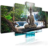 Canvas Print Design Wall Art Painting Decor Zen Decorations for Home Buddha Landscape Artwork Pictures Bedroom (Green, Over S