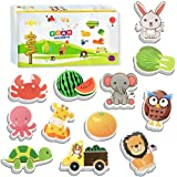 HLXY Fridge Magnets for Toddlers Kids 100 Pcs Animals Magnets -Fruit Vegetables Vehicle Magnets - Foam Magnets Educational To
