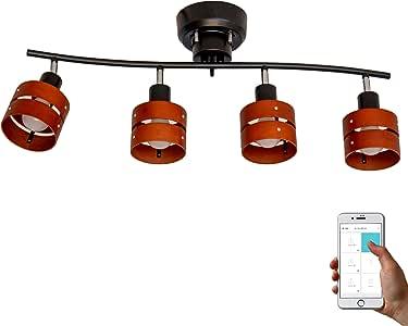 トリゴ(TOLIGO) スマートシーリングライト レダ 4灯 スマホ操作 お洒落 タイマー設定 6畳 8畳 LED対応 スポットライト 角度 リビング用 寝室 TLG-S001 BB ブラック×ブラウン 出荷時期