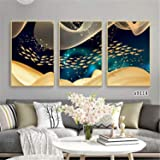 Wall Art Modern Painting Simple Nordic Style Fish Poster Canvas 3 Pieces Art Gift Home Print Decoration Framed Picture for Li