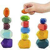 16 Pcs Wooden Stone Balancing Blocks- Colorful Wood Stone Building Blocks Natural Rainbow Balancing Stacking Game Rock Blocks