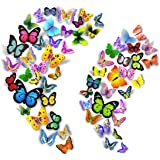 PARLAIM 104PCS Butterfly Wall Decor for Wall-3D Butterflies Wall Stickers Removable Mural Decals Home Decoration for Kids Nur