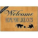 Msimplism.D Funny Doormat for Indoor Outdoor - Welcome Hope You Like Cats Funny Front Doormat Entrance Floor Mat Non Slip Mat