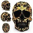 Tvoip 1Pcs Black Skull Head Golden Carving Horror Home Table Decorative Craft Human Horror Resin Skull Bone Skeletons Hallowe