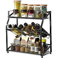 調味料ラック 調味料収納ラック スパイスラック 3段式 おしゃれ 大容量 キッチンラック 台所デスクトップ 調味料収納…