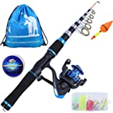 YONGZHI Kids Fishing Pole with Spinning Reels,Telescopic Fishing Rod,Shoulder Pocket,Manual,Full Kits Tackle Box for Travel F