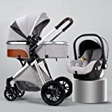 Baby Stroller, 3 in 1 Baby Stroller Carriage Foldable with Adjustable Seat Angle and Four-Wheel Shock Absorption, Luxury Land