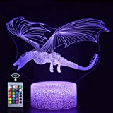 Dragon 3D Night Light Touch Table Desk Lamp,16 Colors & Remote Control 3D Optical Illusion Lights with Acrylic Flat & ABS Bas