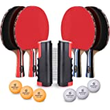 Sportout 4 Player Ping Pong Paddle Set, Table Tennis Paddle Set with Retractable Net, Balls and Portable Case, Perfect for Ho