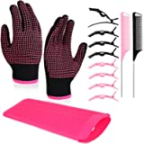 13 Pieces Hair Styling Set Including Heat Resistant Gloves with Silicone Bumps, Silicone Mat Pouch, Hair Clips and Pintail Co
