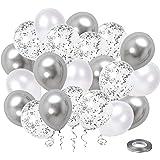 White Silver Confetti Latex Balloons